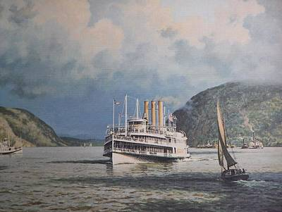 Steamboats On Newburgh Bay William G Muller Poster