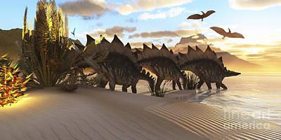 Stegosaurus Dinosaurs Graze Among Poster