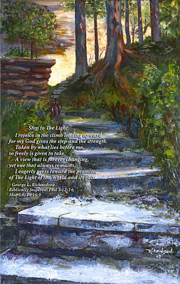 Poster featuring the painting Step To The Light With Poem by George Richardson