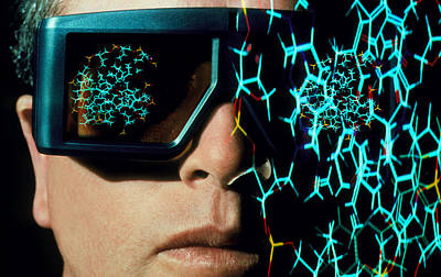 Stereo Glasses To View 3-d Shape Of Molecule Poster