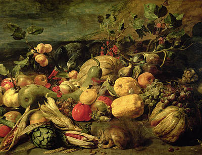 Still Life Of Fruits And Vegetables Poster
