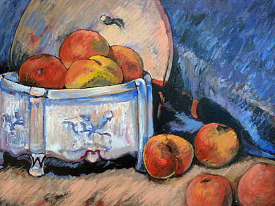 Poster featuring the painting Still Life Peaches by Tom Roderick