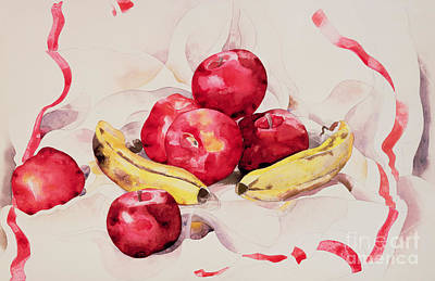 Still Life With Apples And Bananas Poster