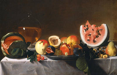 Still Life With Fruit And Carafe Poster by Pensionante del Saraceni