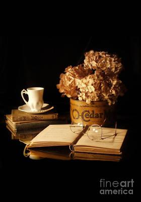 Still Life With Hydrangea And Books Poster by Jill Battaglia