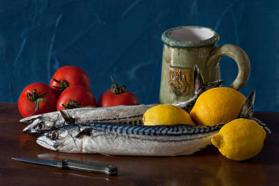 Still Life With Mackerels Lemons And Tomatoes Poster by Juan Carlos Ferro Duque