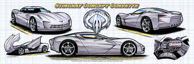 Poster featuring the drawing 2010 Stingray Concept Corvette by K Scott Teeters