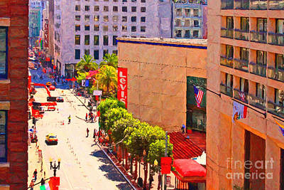 Stockton Street San Francisco Towards Union Square Poster by Wingsdomain Art and Photography
