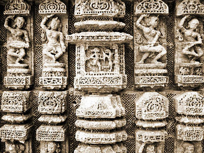 Stone Carvings In An Indain Temple Poster by Sumit Mehndiratta