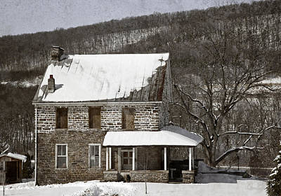 Stone Farmhouse In Snow Poster by John Stephens