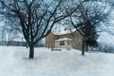 Stone Farmhouse In Winter Poster