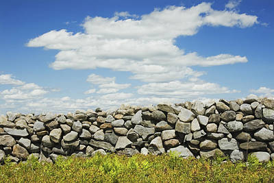 Stone Wall With Blue Sky And Clouds Poster by Keith Webber Jr