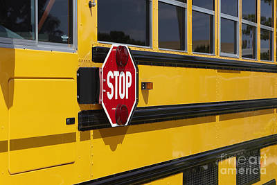 Stop Sign On A School Bus Poster by Skip Nall