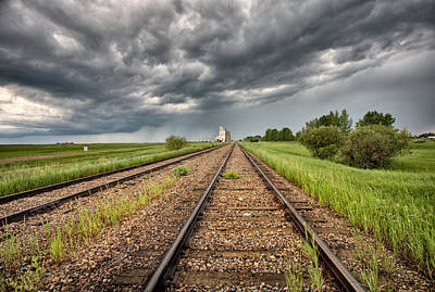 Storm Clouds Over Grain Elevator Poster