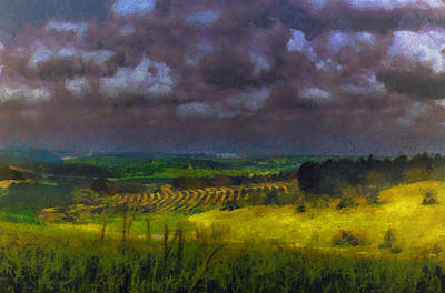 Storm Clouds Over Meadow Poster