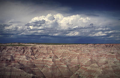 Storm Clouds Over The Badlands National Park Poster by Randall Nyhof