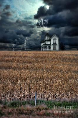 Storm Over Farmhouse Poster by Jill Battaglia