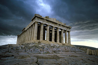 Storm Over The Parthenon Poster