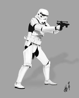 Storm Trooper Digital Drawing Poster by Nicholas  Grunas