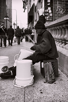 Street Drummer Poster by Peter Chilelli