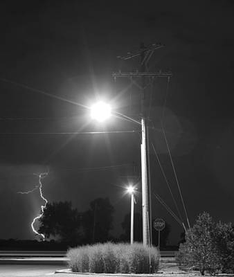 Street Light  Lightning In Black And White Poster