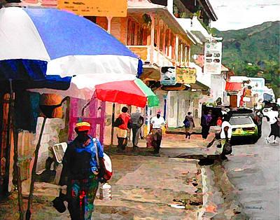 Street Scene In Rosea Dominica Filtered Poster