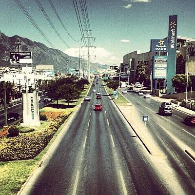 Street... #street #bridge #car #mall Poster