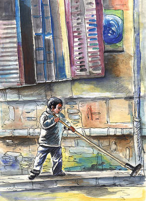 Street Sweeper In Cyprus Poster by Miki De Goodaboom