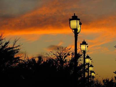 Streetlamp Sunset Poster