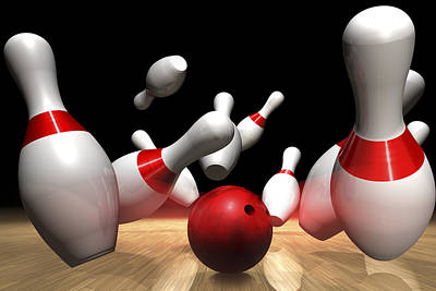 Strike In A Bowling Game Poster by Jose Luis Stephens