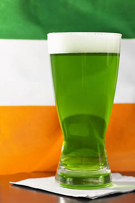 Studio Shot Of Glass Of Green Beer With Irish Flag Poster by Vstock LLC