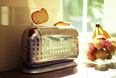 Stylish Chrome Toaster Popping Up Toast Poster