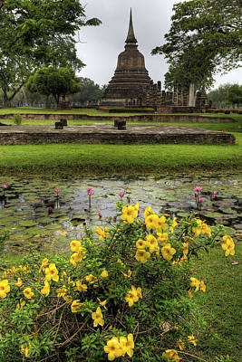 Sukhothai Historical Park Poster by Adrian Evans