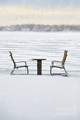 Summer Chairs In Winter Near Lake Poster by Sandra Cunningham