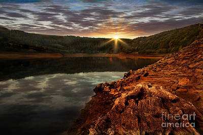 Sun Set Water Poster