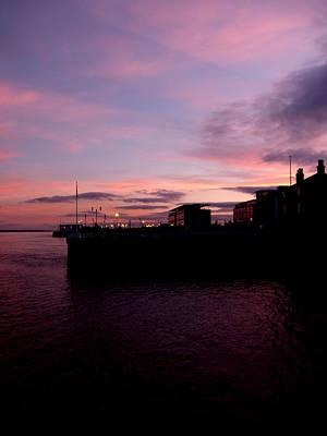 Sun Setting On Hull Marina Poster