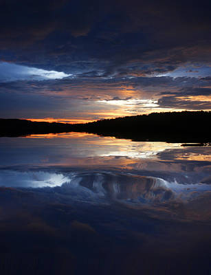 Sundown At Lake Poster by Rick Friedle