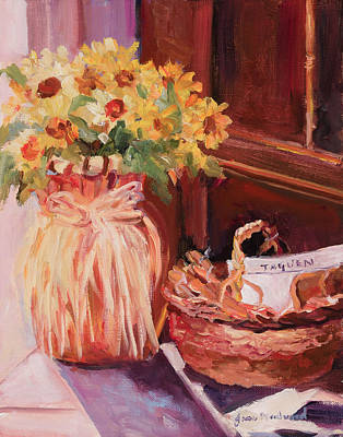 Sunflowers And The Breadbasket Poster
