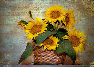 Poster featuring the photograph Sunflowers by Anna Rumiantseva