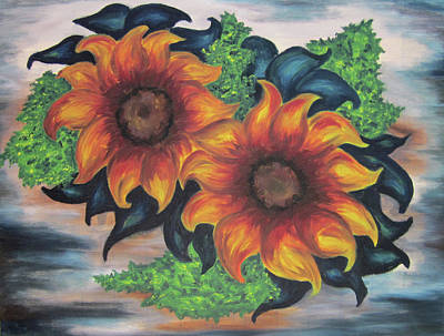 Poster featuring the painting Sunflowers In A Still Life by Cheryl Pettigrew