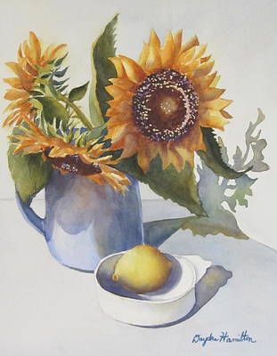 Sunflowers In Vase Poster