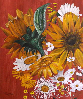 Poster featuring the painting Sunflowers by Lynn Hughes