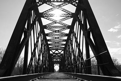 Poster featuring the photograph Sunlight Through The Peshtigo Train Bridge by Mark J Seefeldt