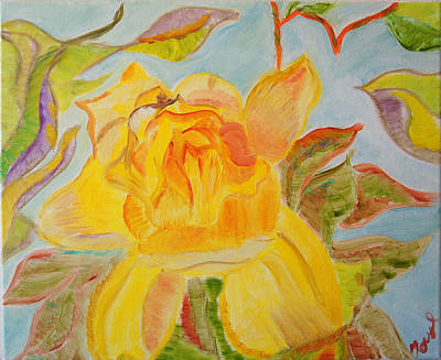 Sunlit Rose Poster by Meryl Goudey