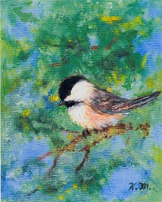 Sunny Day Chickadee - Bird 2 Poster by Kathleen McDermott