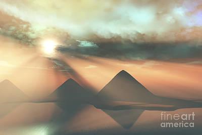 Sunrays Shine Down On Three Pyramids Poster