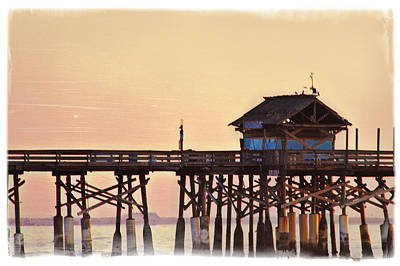 Poster featuring the photograph Sunrise On Rickety Pier by Janie Johnson