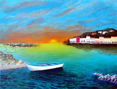 Poster featuring the painting Sunrise On The Riviera by Larry Cirigliano