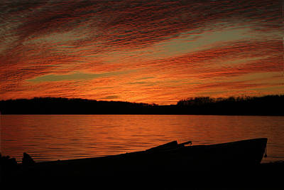 Sunset And Kayak Poster