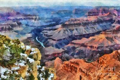 Sunset At Mohave Point At The Grand Canyon Poster by Mary Warner